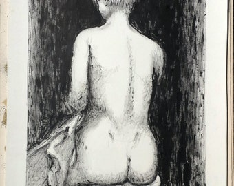 "Lithograph ""Nude girl sitting back"" by Robert Feqiakidip 1991"
