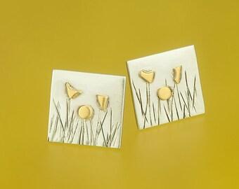 Meadow Stud Earrings with fine gold flowers