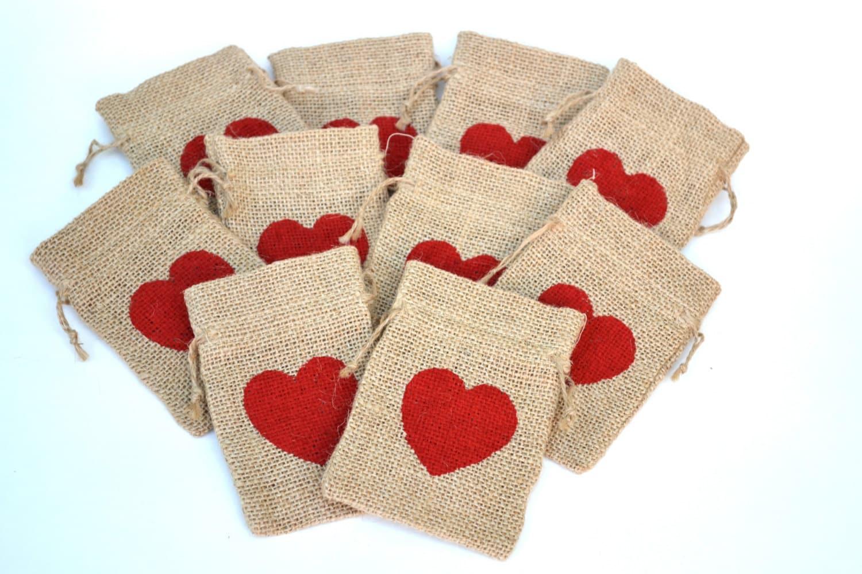 Wedding Gift Bags Burlap : Burlap Bags Favor Bags Wedding Favor Bags Heart Bags