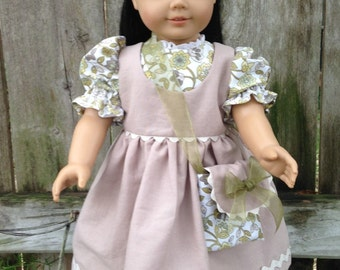 American Girl Doll dress, pinafore, shoes and purse