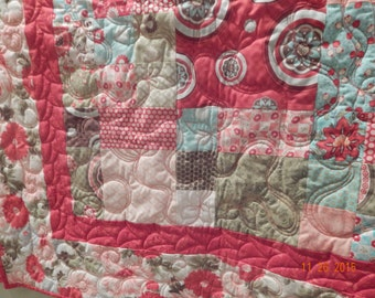 Red and aqua quilt, Moda fabrics, Red Minky on back - soft!- 57 x 65