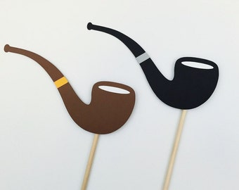 Pipe Photo Booth Props / Wedding Photo Props / Pipe on a stick / Smoking Pipes / Party Photobooth Props / FULLY ASSEMBLED / 2 Pc