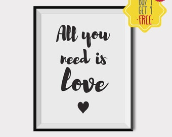 All you need is love print, love quotes, love quote print, Love Printable, couple print, Printable wall art, Typography Print, quote posters