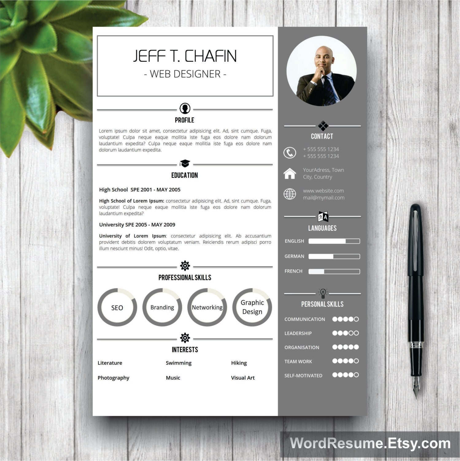 professional resume template cover letter word cv template