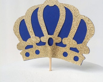 Gold Glitter & Royal Blue Crown Cake Topper- Gold Crown Cake Pick – Crown Cake Topper – Ready to Ship