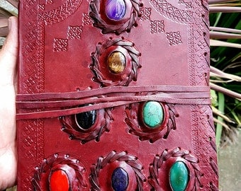 Leather Bound Journal // Leather Notebook // Blank Journal // Magical Seven Stones Journal
