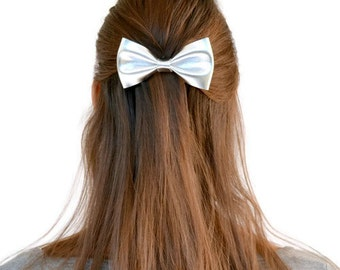 Silver leather hair bow / Metal hair bow clip / Hair accessories for children / Silver genuine leather