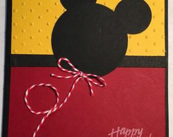 Fun birthday card,Micky Mouse card, happy birthday cards,kids birthday card, cupcakes, sweet birthday wishes, cute card,handmade card