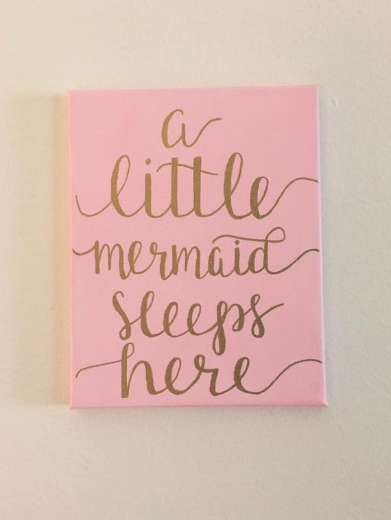 A little mermaid sleeps here canvas sign custom by for Signs for little girl rooms