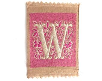 Letter W, Monogram Applique, 1930s Vintage Embroidered 'Letter W' applique. Alphabet Patch / Monogram application, antique letter #5E8G96K5D
