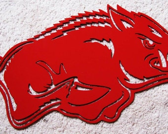 Licensed University of Arkansas 2 foot AR Razorback PIG HOG Logo Metal 14 gauge Steel Mascot Sign Design Wall Art Decor Sign Powder Coated