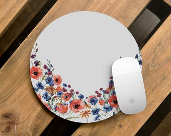 Home Office Desk Accessories Gift Cute Mouse Pad Floral MousePad Round Mouse Pad Mousepad Computer Mouse Mat Flower Office Decor Handmade