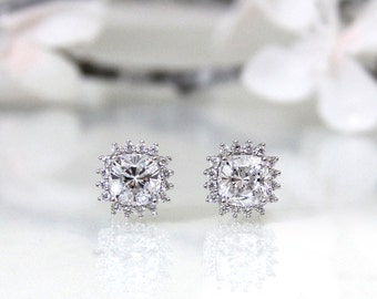 Cushion Cut CZ Halo Stud Earring <> 4 Prong with Pave Setting <> 2596