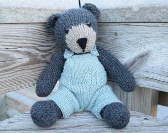 Big Stuffed Bear, Wool Toy, Bear in Overalls, Handmade Toy, Knitted Teddy Bear, Stuffed Animal, Baby Gift, Plush Bear, Kids Toy, Plush Doll