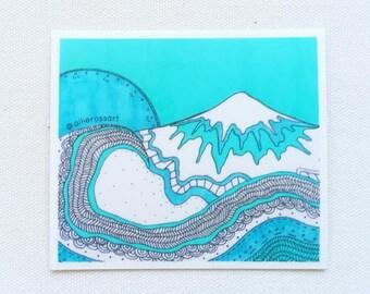 Blue Vinyl Mountain Sticker