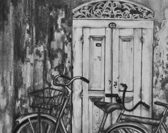 Bicycles - Signed Giclee Print of Pencil Drawing