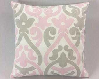 Pink Grey Pillow Cover- Alex Bella/French/Grey Print - Decorative Accent Pillow-  Designer Print Pillow Cover - Custom Sizes- Hidden Zipper