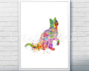 Cat Watercolor Art Print  - Watercolor Painting - Cat Watercolor Art Painting - Cat Poster - Home Decor -House Warming Gift [1]