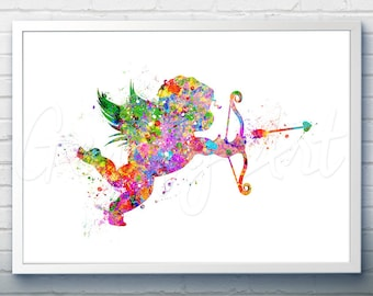 Cupid Love Art Watercolor Art Print  - Watercolor Painting - Cupid Love Watercolor Art Painting  - Home Decor - House Warming Gift