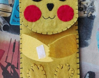 Phone case pikachu pokemon felt hand made custom cover universal smartphone iphone samsung portacellulare funda etui original gift