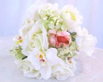 Blush Rosebud Bridal Bouquet, White Roses Brides Bouquet, Roses & Pink Rosebud Wedding Bouquet, Green Lilac Accents, Romantic Silk Flowers