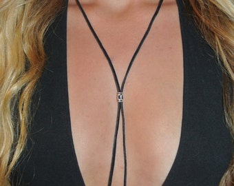 Black Bolo Necklace | Black Leather Necklace | Boho Necklace | Black Suede Necklace | The Sandy Vine