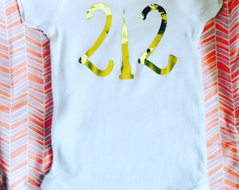 212 onesie area code- NYC- New York City Empire State Building- baby- Baby Body Suit- Friends gift- Bodysuit - baby shower gift- baby gift