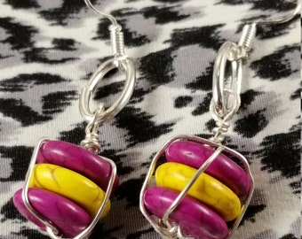 Fuchsia & Yellow Earrings