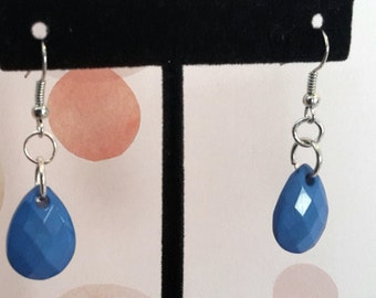 Dark Blue Tear Drop Earrings
