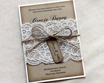 Lace Rustic Wedding Invitations, Kraft Wedding Invitation Set, handmade Wedding Invitation Ensemble, Wedding Invitations Rustic, Shabby Chic