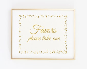 Favors please take one, Printable Sign, Party Favor sign, Gold Birthday Sign, Gold Birthday Decoration favors sign, Instant Download