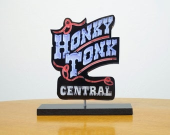 Honky Tonk Central neon sign Photo cutout / Neon signs / Nashville neon sign photo / Music art / musci neon sign / retro art / vintage neon