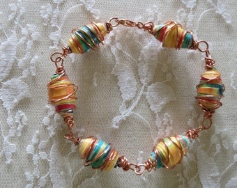 Copper Wire Wrapped Bead Bracelet Southwestern Colors