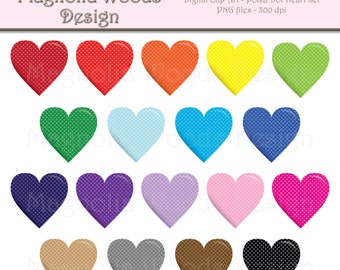 Polka Dots Heart Clip Art, Hearts Clip Art, Heart Clip Art, Hearts PNG, Valentine's Day Clip Art, Digital Hearts, Small Commercial Clip Art