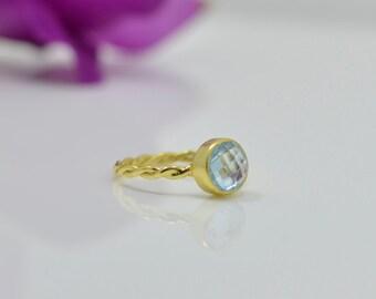 Blue Topaz Ring, Blue Topaz Gold Ring, Silver Blue Topaz Ring, Blue Topaz Stackable Ring, Gold Blue Topaz Ring, Blue Topaz Petite Rings