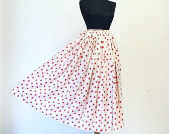 Vtg 80s full circle red dots skirt