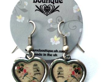Antique Silver Vintage Style Heart Birdcage Earrings
