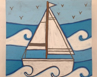 Hand painted blue boat canvas picture