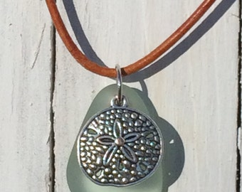 Sea Glass Sand Dollar Leather Pendant Necklace