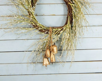 Rustic Fall Door Hanger Copper Bells Porch Chimes