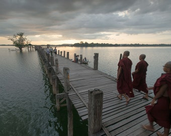 Monks Crossing - U Bein Bridge - Myanmar - Travel Photography - Landscape Photography