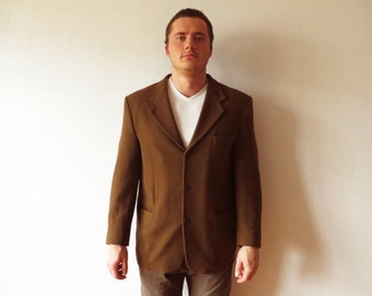 Vintage Brown Men Blazer Brown Sport Coat Men Wool blend Suit Jacket Men Preppy Jacket Urban Casual Hipster Blazer Boyfriend Gift Large Size