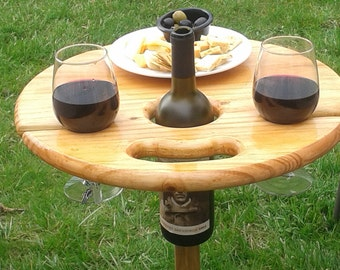 Folding Wine Table-Outdoor Furniture: Unique wedding gift, camping, RV, birthday, anniversary, engagement, personalized gift for wine-lovers