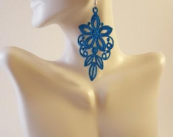 Turquoise lace earrings Lace jewelry Statement earrings Womens Fashion Lace earrings Long earrings Drop earring Dangle earrings