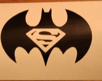 Superman Batman superhero Decal - permanent vinyl - perfect for mancave, Yeti & Rtic cups, coolers, car windows, etc. Decal only.