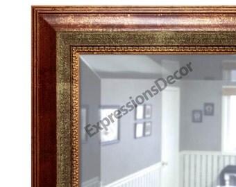 Custom Rusted Auburn & Gold Decorative Wall Mirror - Beveled Glass - FREE SHIPPING