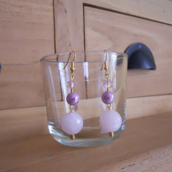 Romantic pink earrings with 3 different round beads