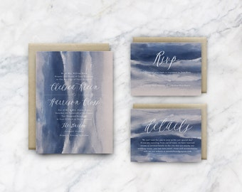 Printable Wedding Invitation   Blue Watercolour with Handwritten Script   Easy diy   Whimsical Bohemian Invitation Design