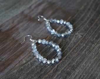 Silver Beaded Hoop Earrings, Beaded Hoop Earrings, Teardrop Hoops, Silver Faceted Beaded Hoops