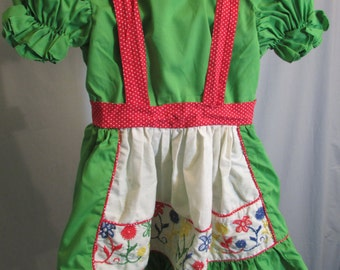 1970s Apple Green Red and White Polka Dot Embrodiered Childs Dress with Puff Sleeves and Ruffle Skirt